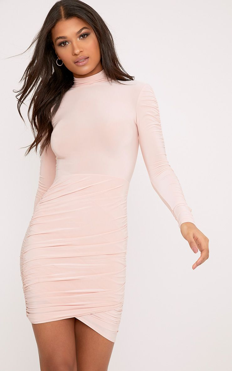 Sinitah Nude Long Sleeve Ruched Bodycon Dress