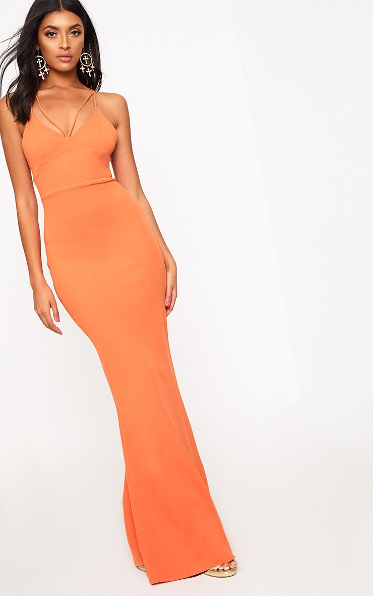 Bright Orange Strap Detail Strappy Maxi Dress