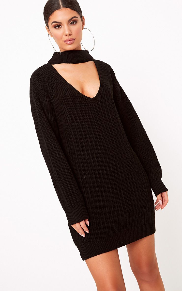 Ashleiyn Black Choker Detail Knitted Mini Dress