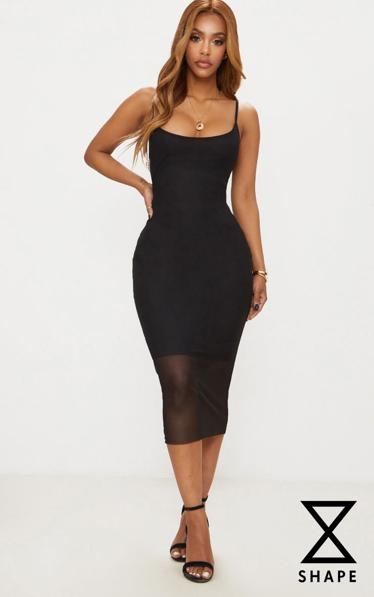 Shape Black Mesh Strappy Midi Dress