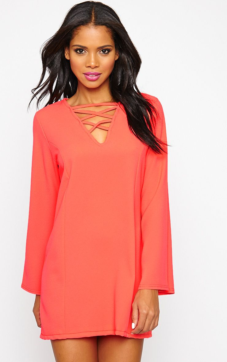 Liz Neon Pink Cross Front Crepe Loose Fit Swing Dress 1