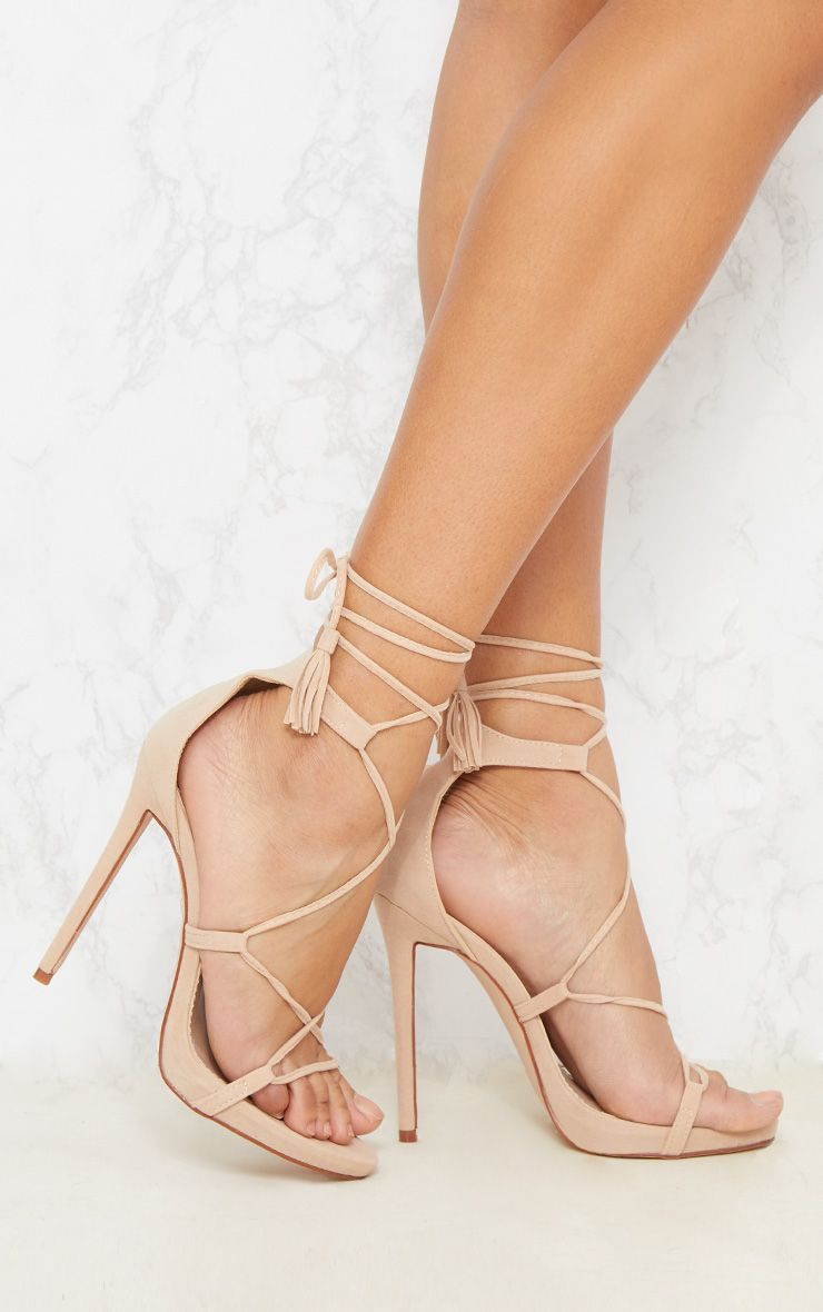 Rosaline Nude Tassel Lace Up Heels