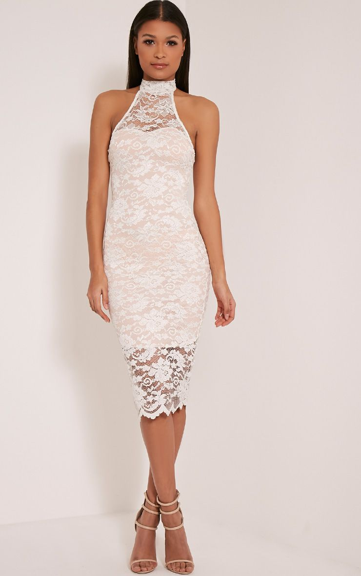 Kalli Cream High Neck Lace Detail Midi Dress 1