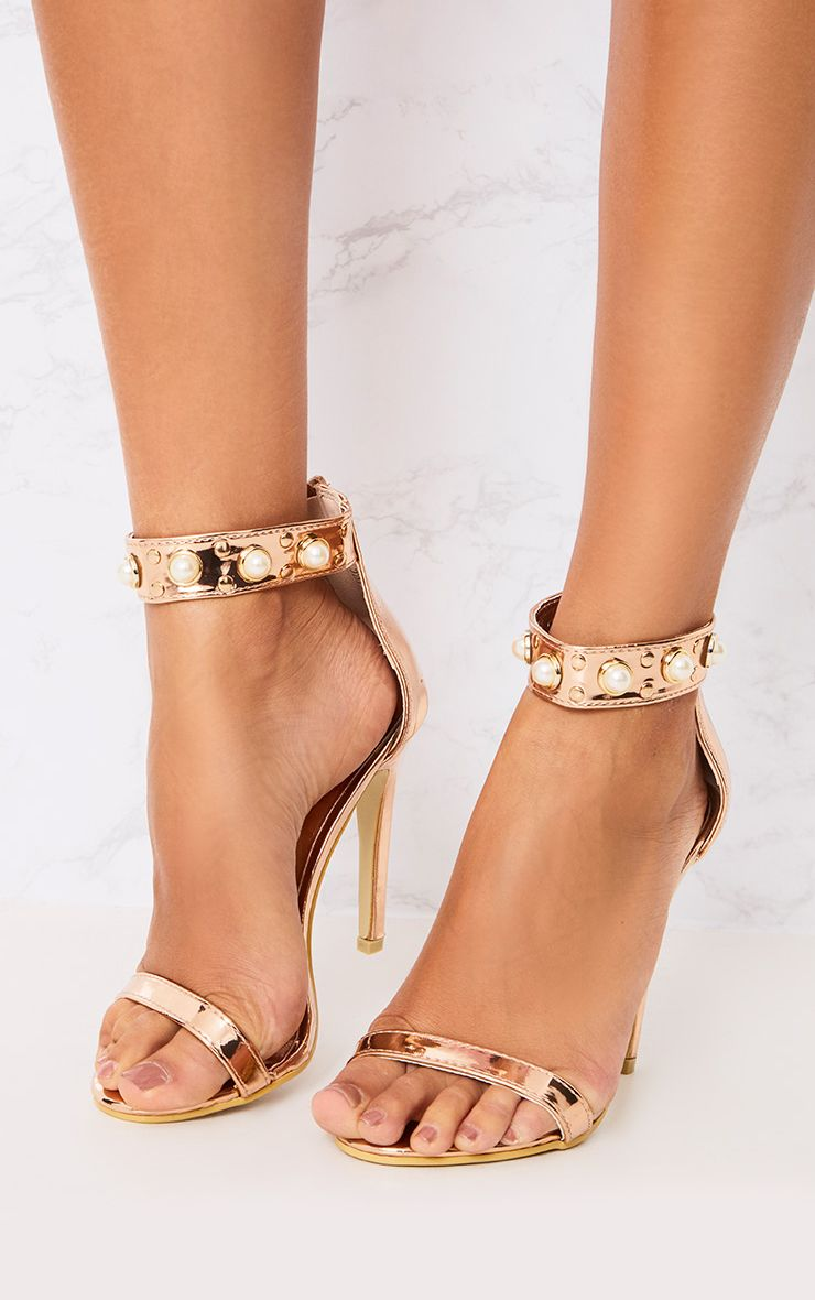 Rose Gold Pearl Strap Heels