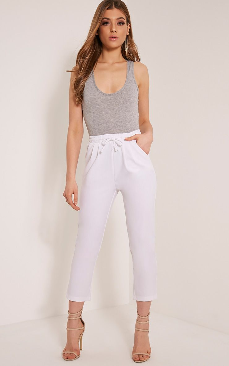 Diya White Cropped Trousers 1