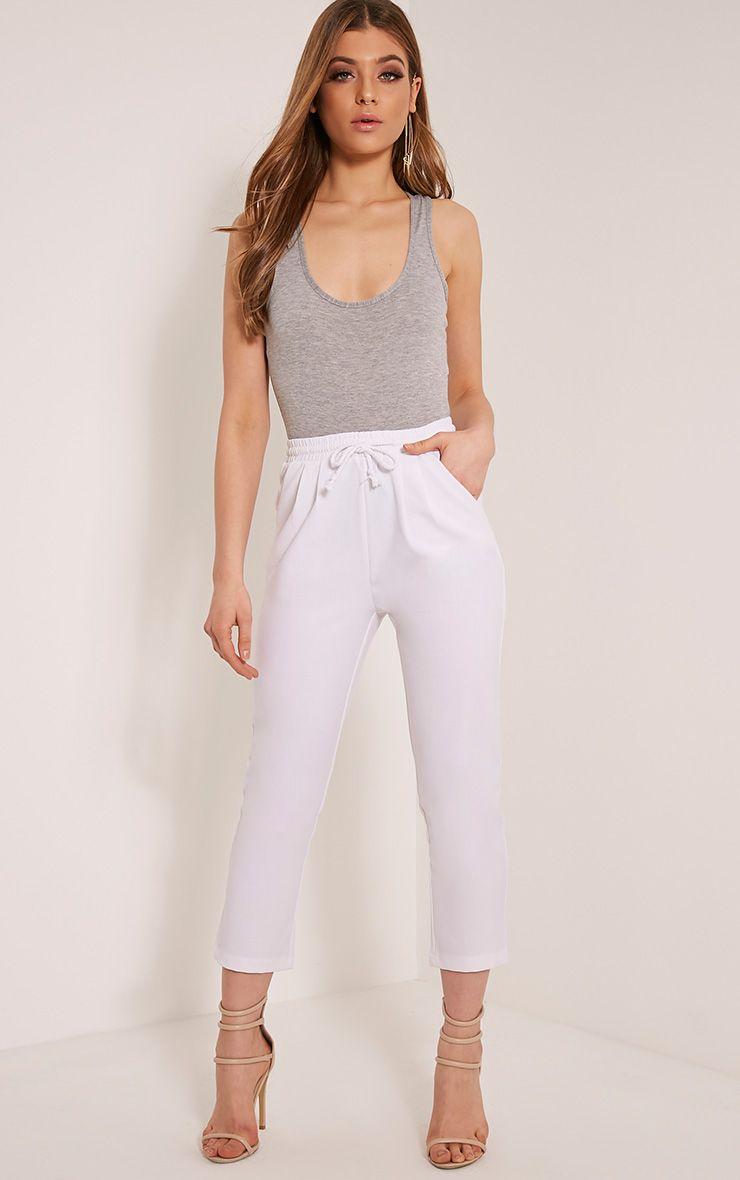 Diya White Cropped Trousers