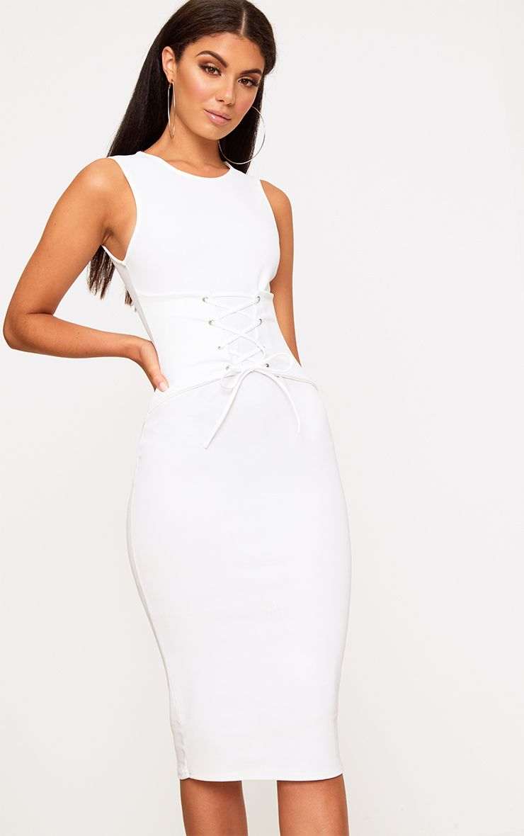 White Corset Detail Midi Dress
