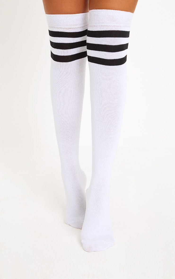 White & Black Striped Over The Knee Socks