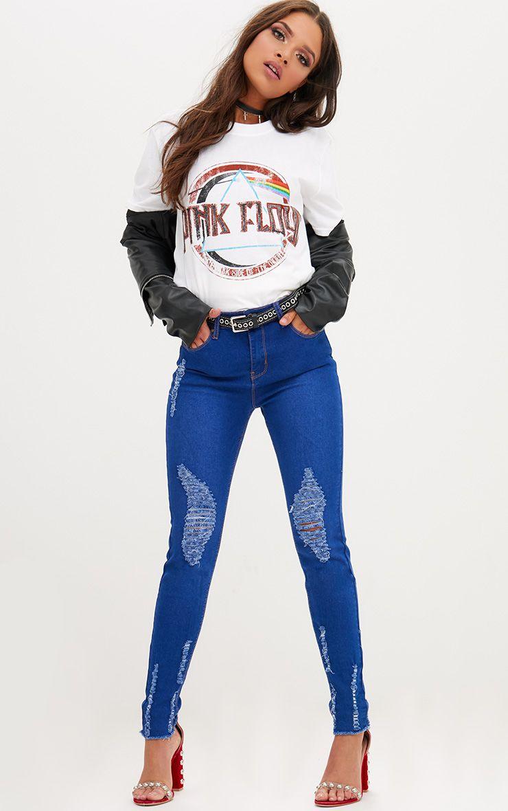 Bright Blue Distressed Skinny Jean