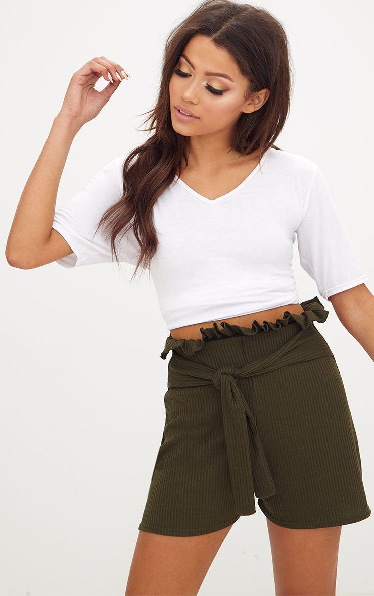 Khaki Ribbed Paperbag Shorts