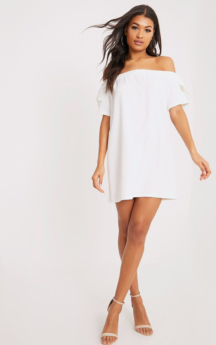 Cayla White Crepe Bardot Swing Dress