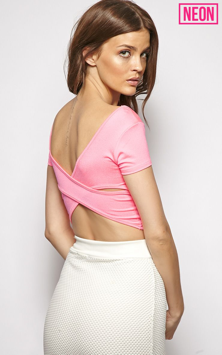 Bailey Pink Cut Out Crop Top 1