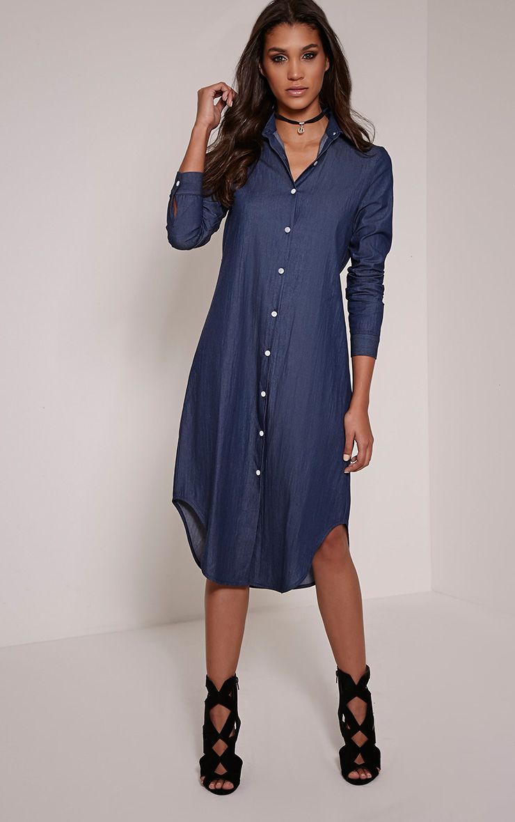 Ania Indigo Denim Maxi Shirt Dress 1