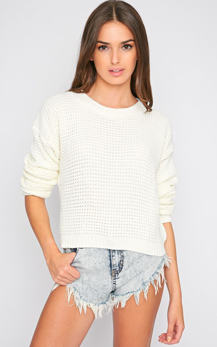 Evie Cream Fisherman Knit Jumper  1