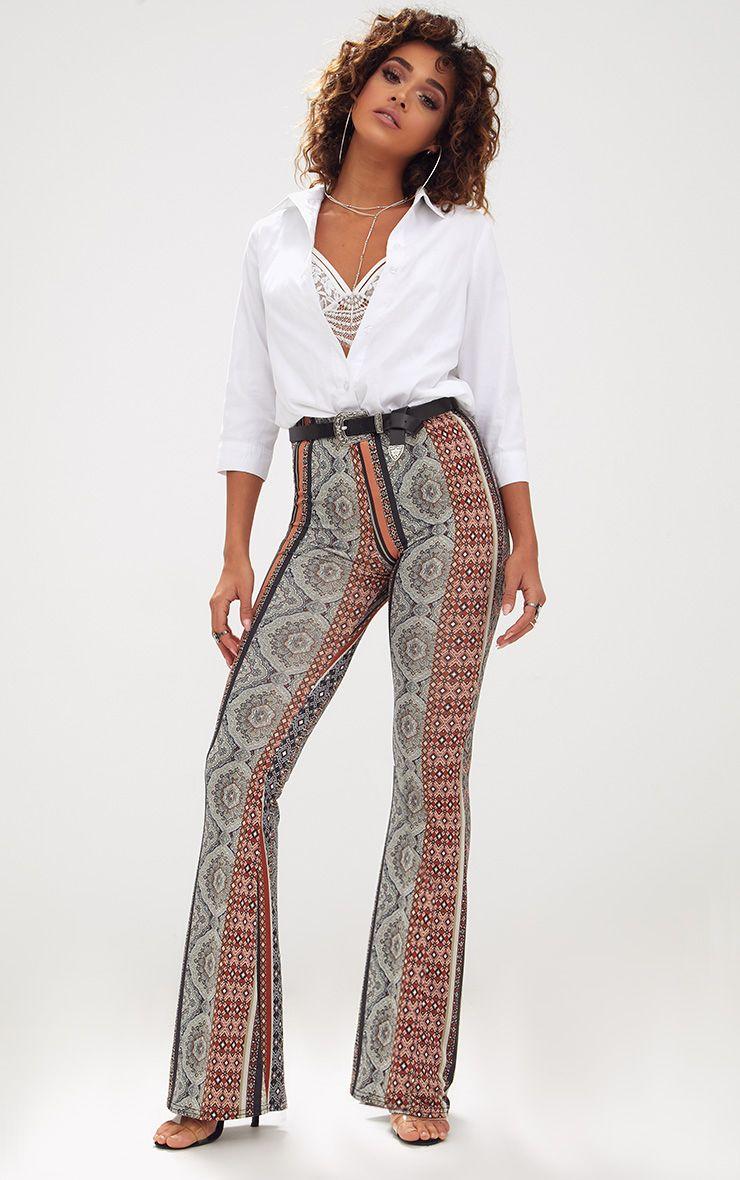 Taupe Boho Stripe Slinky Flared Trousers