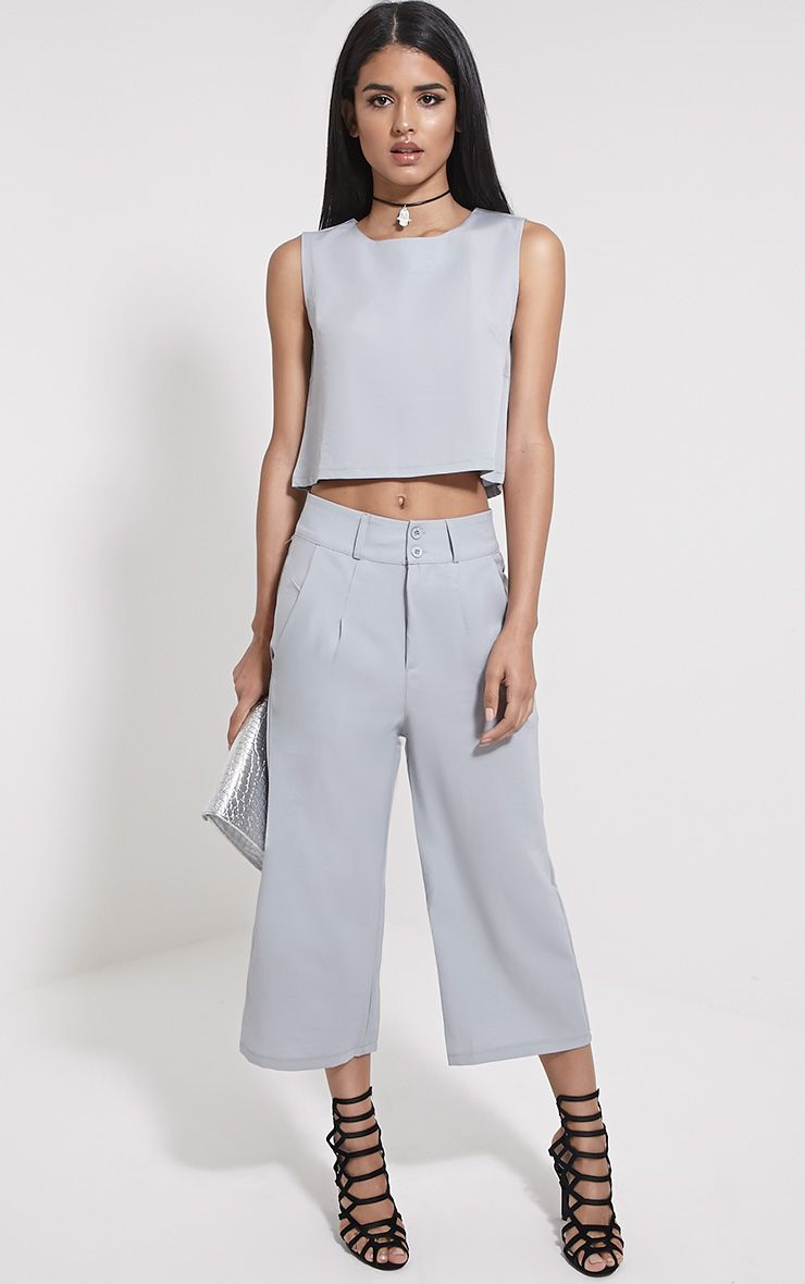 Harlow Grey High Waisted Culottes 1