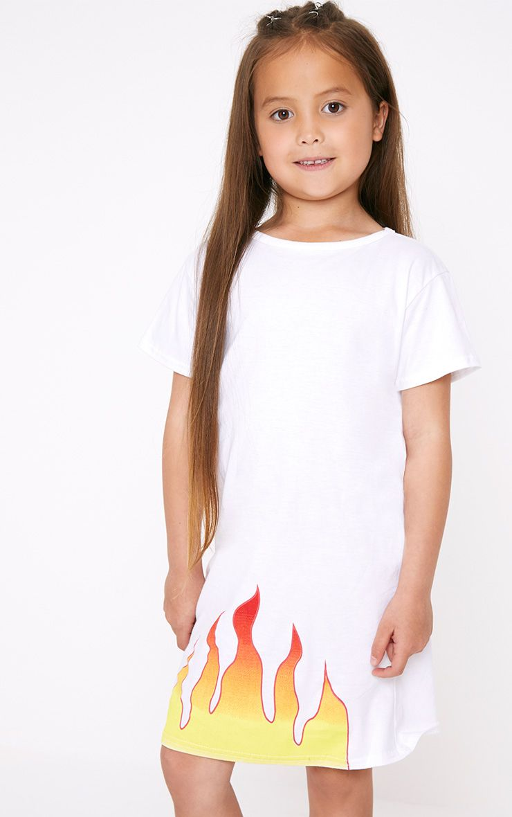 Flame White T Shirt Dress