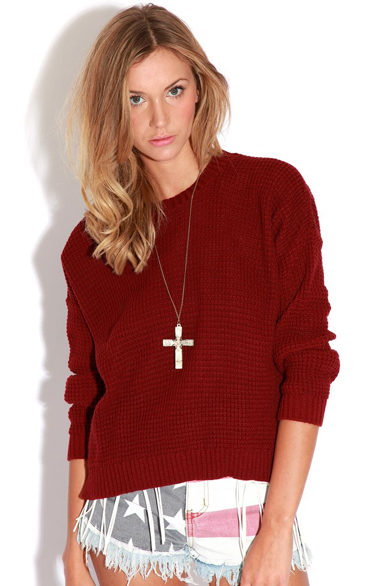 Evie Burgundy Fisherman Knit Jumper-One Size 1