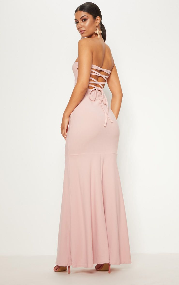 Dusty Pink Strappy Detail Maxi Dress
