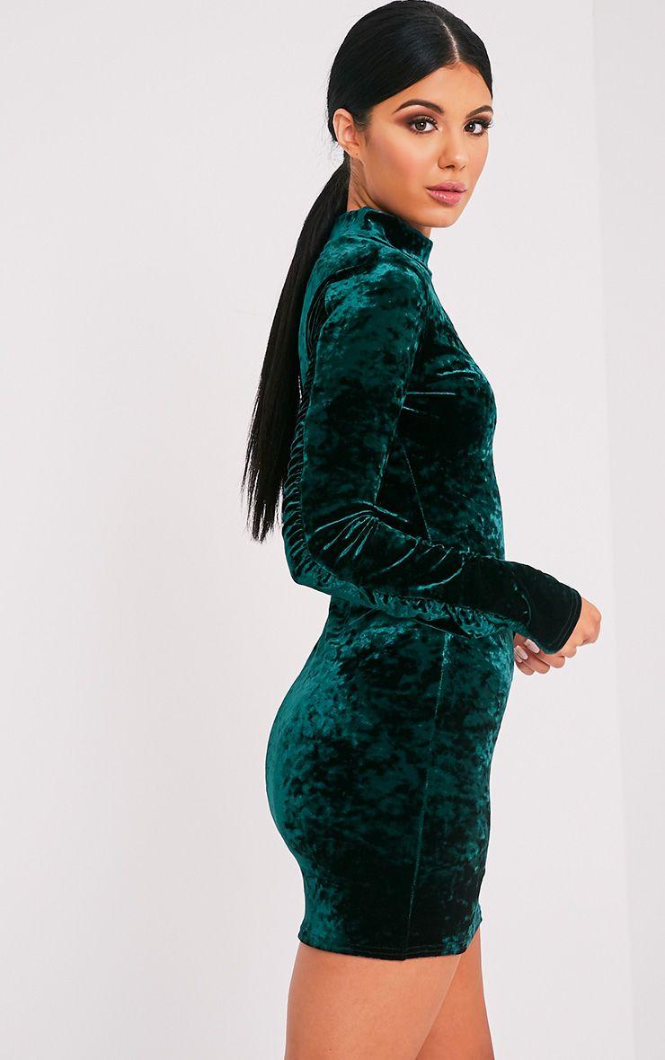 Karsia Emerald Green Velvet High Neck Ruched Bodycon Dress
