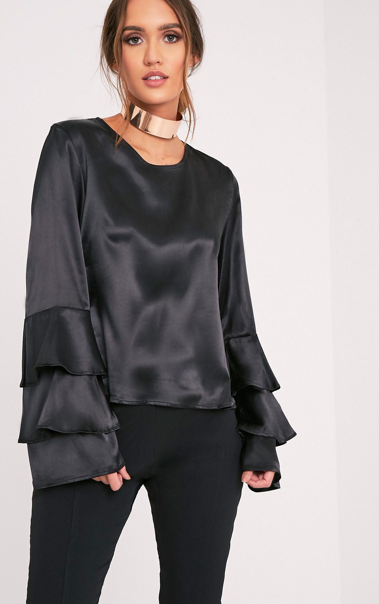 Layle Black Frill Sleeve Woven Blouse