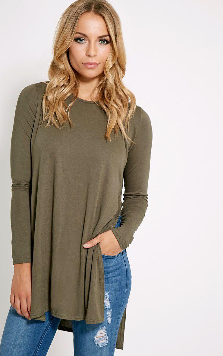 Basic Khaki Long Sleeve Side Split Top