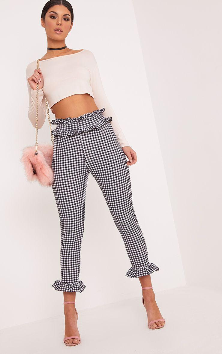 Keren White Gingham Frill Trousers