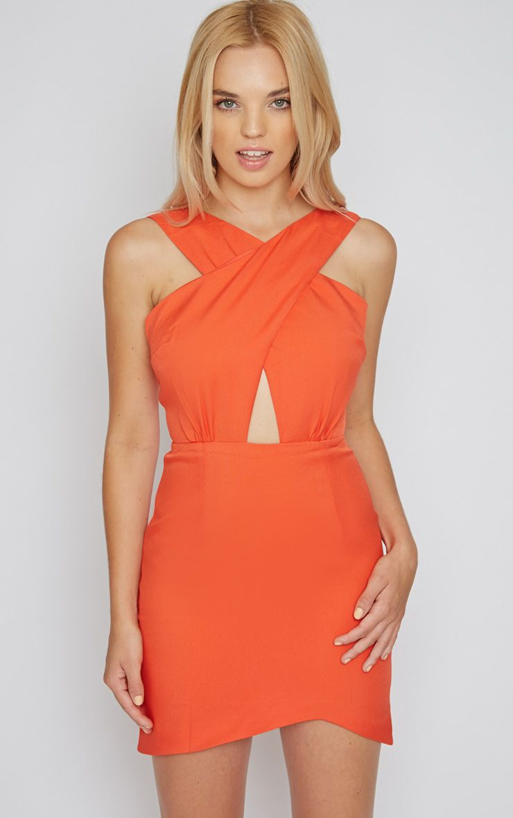 Reese Orange Cross Front Mini Dress 1