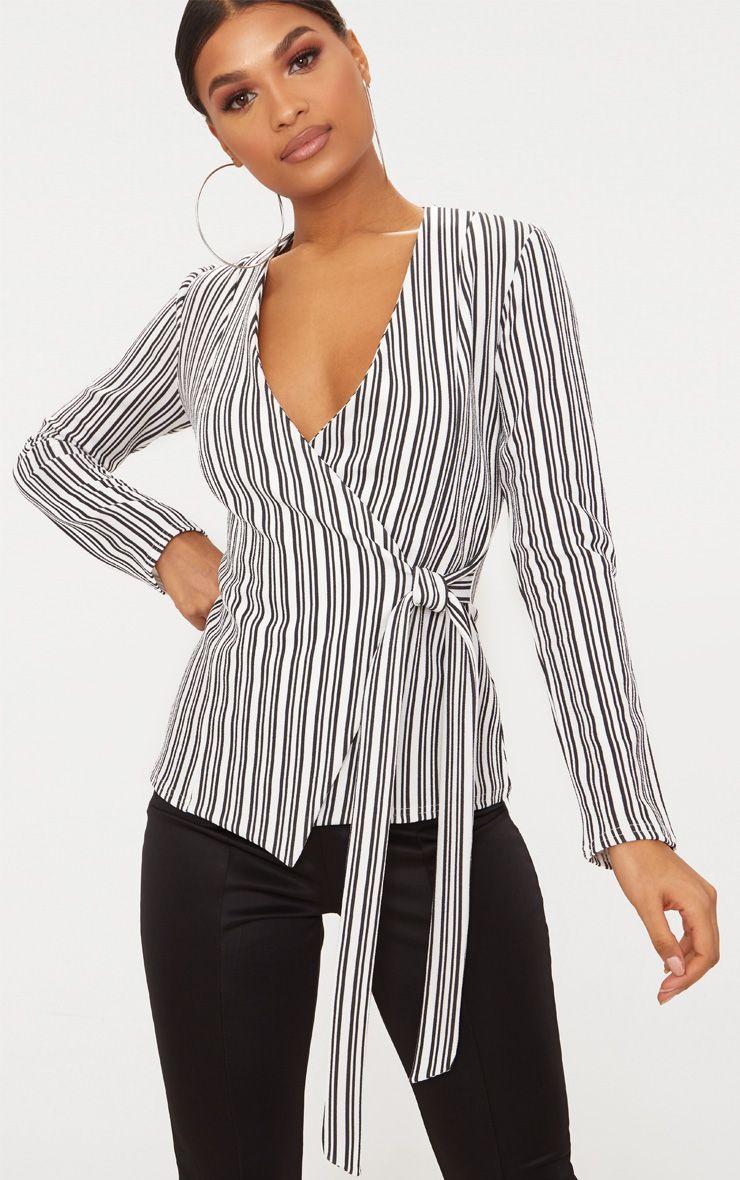 Monochrome Stripe Tie Side Blazer