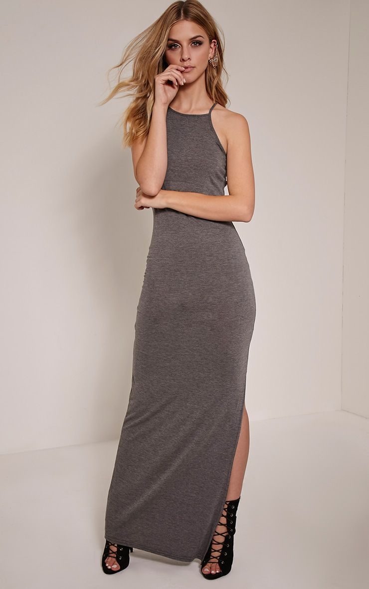 Basic Charcoal Square Neck Maxi Dress 1