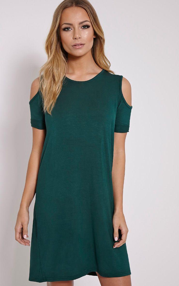 Basic Dark Green Cut Out Shoulder Dress 1