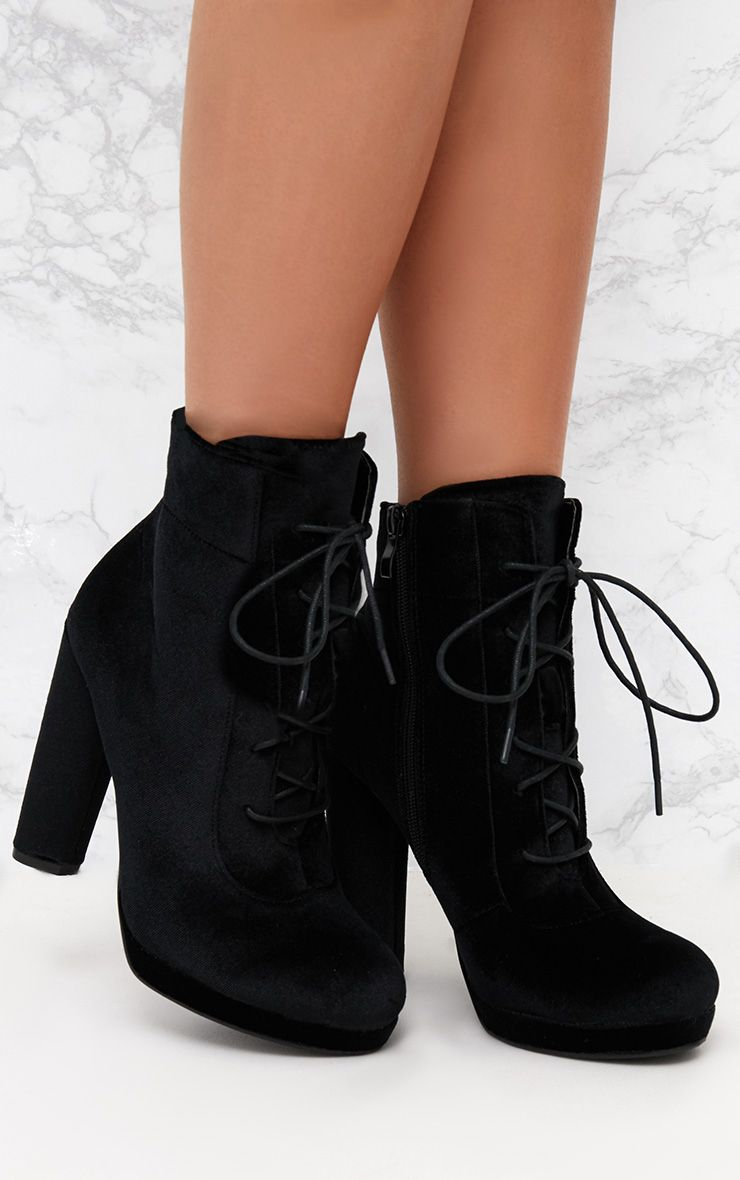 Black Velvet Lace Up Heeled Ankle Boot