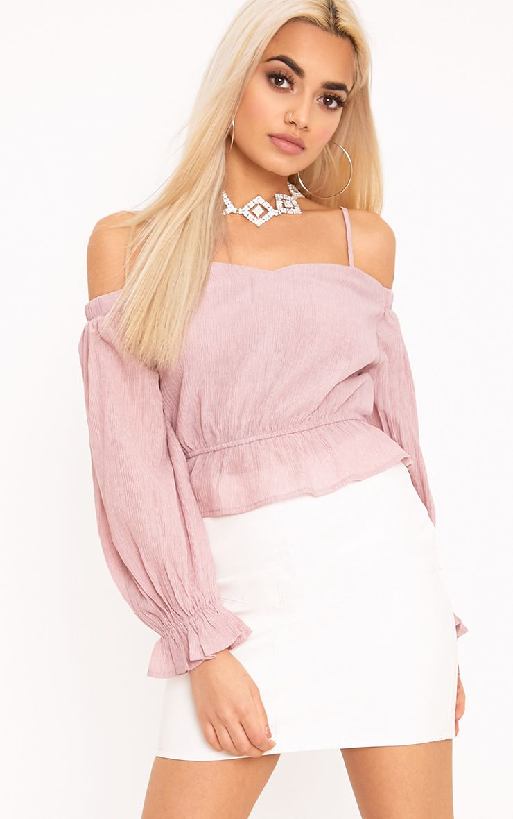 Renee Pink Bardot Cold Shoulder Blouse