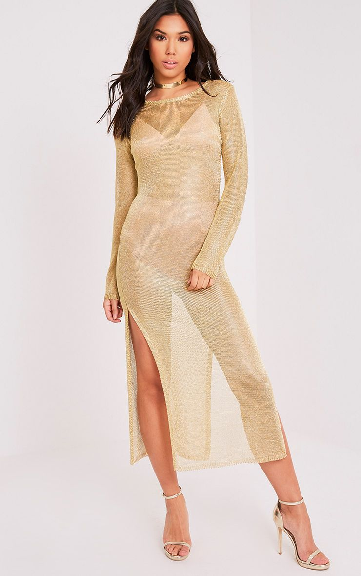 Jacomina Gold Metallic Knitted Midi Dress