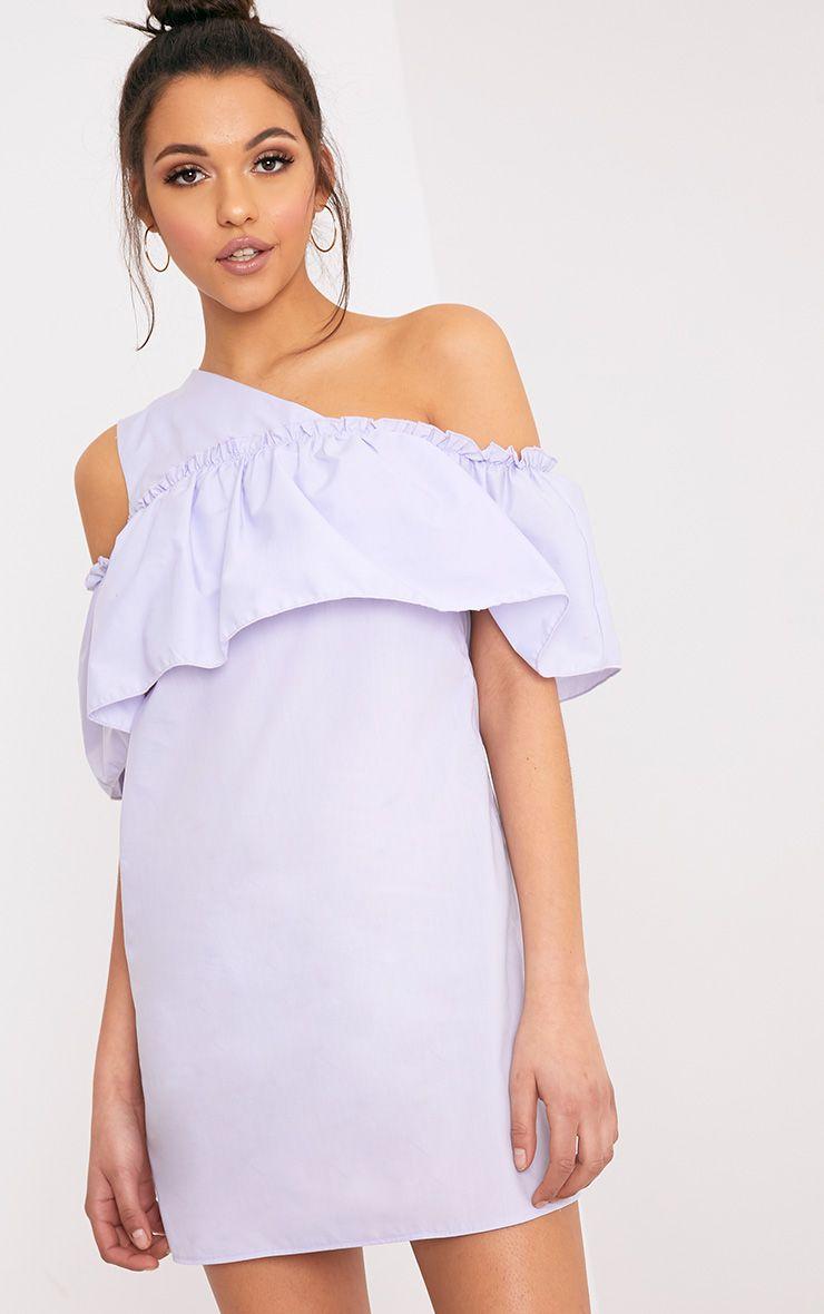 Katarinnah Lilac One Shoulder Frill Shift Dress  1