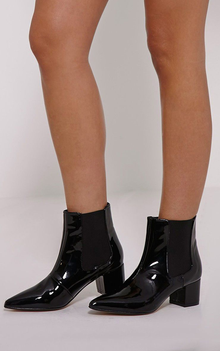Auden Black Patent Heeled Chelsea Boots 1