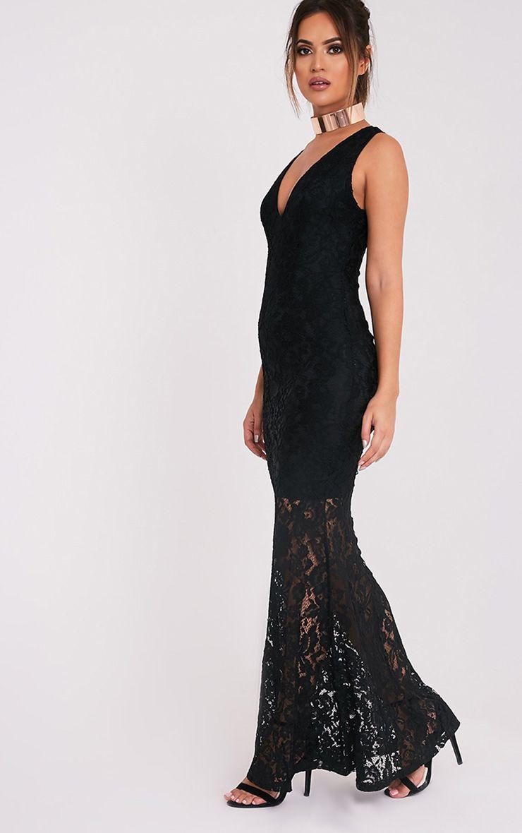 Tarra robe sirène maxi en dentelle noire 5