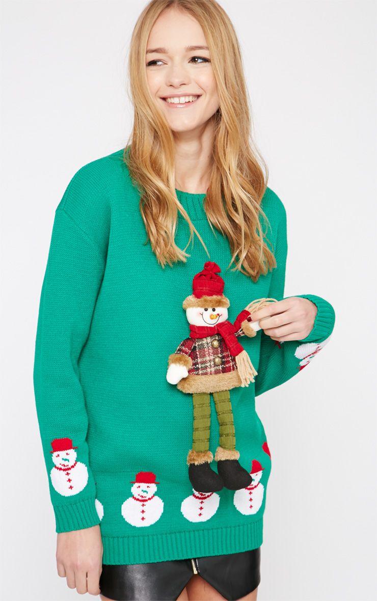 Kara Green 3D Snowman Toy Christmas Jumper  1