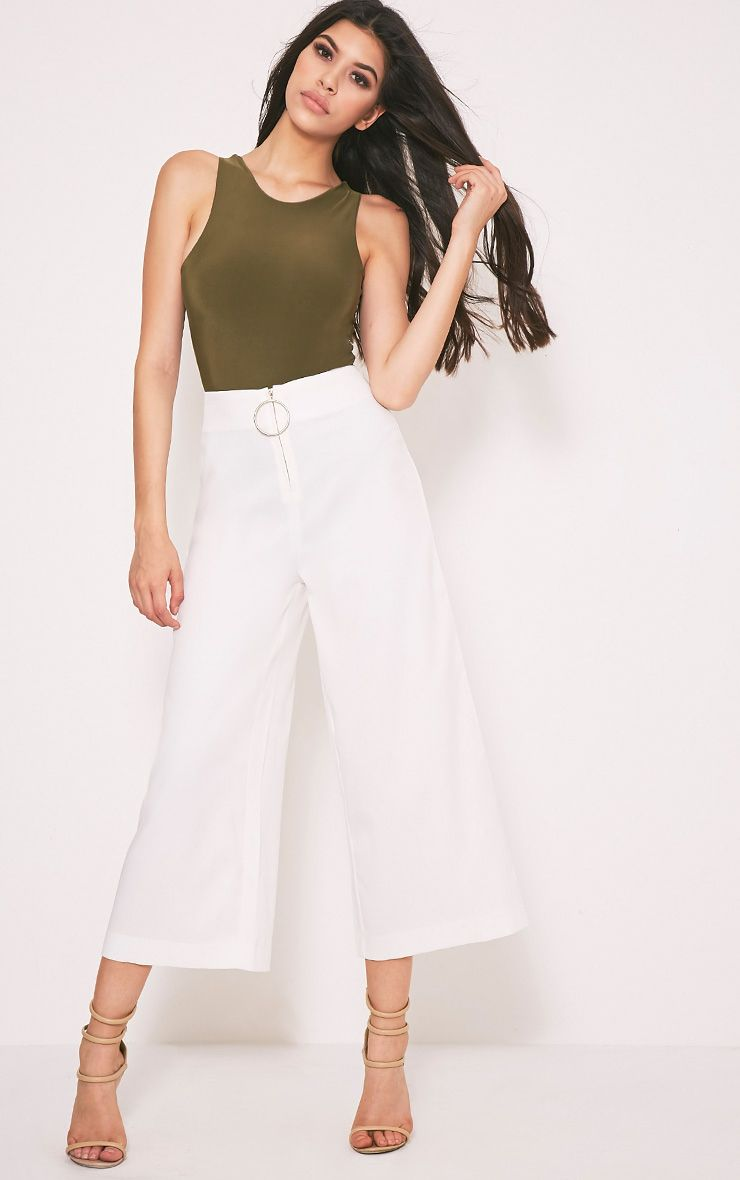 Wilma White Oversized Ring Zip Culottes