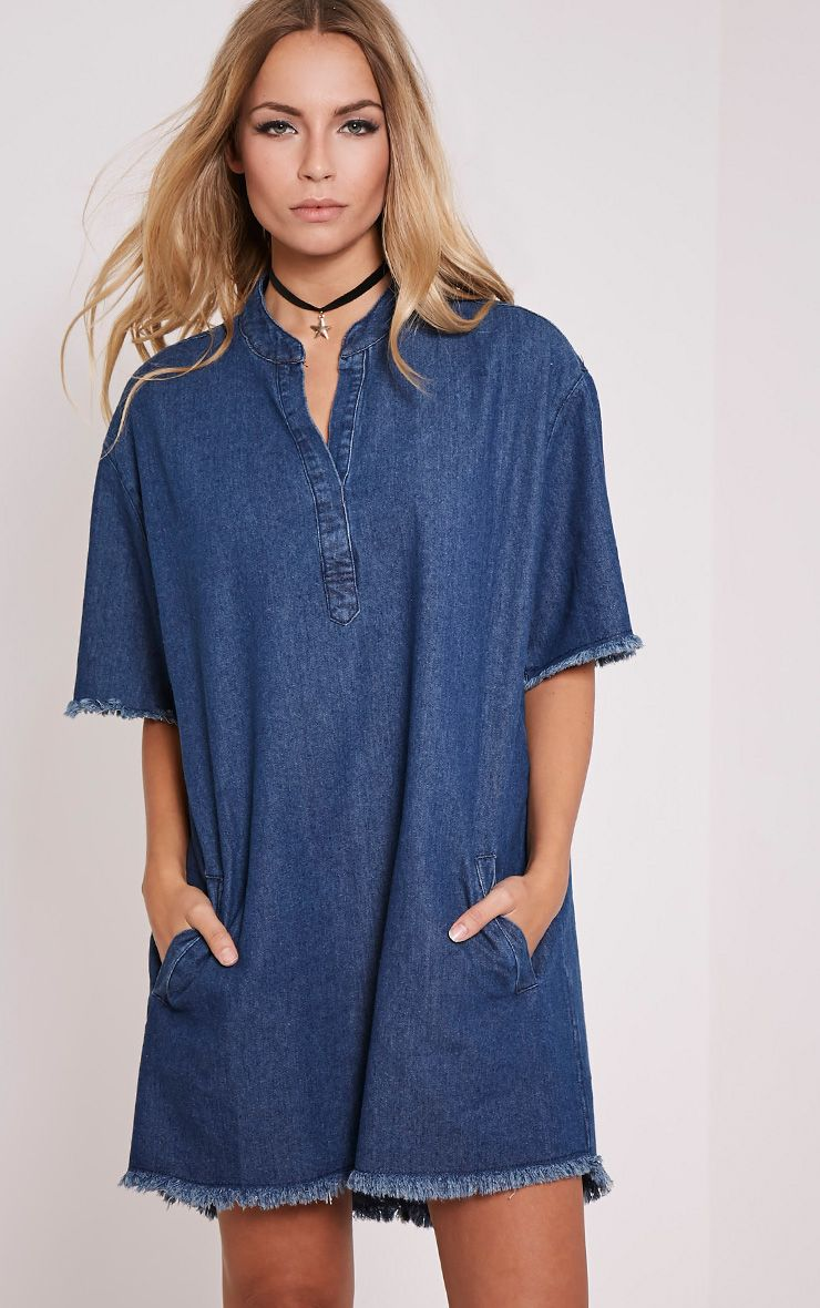 Kristel Blue Denim Shift Dress 1