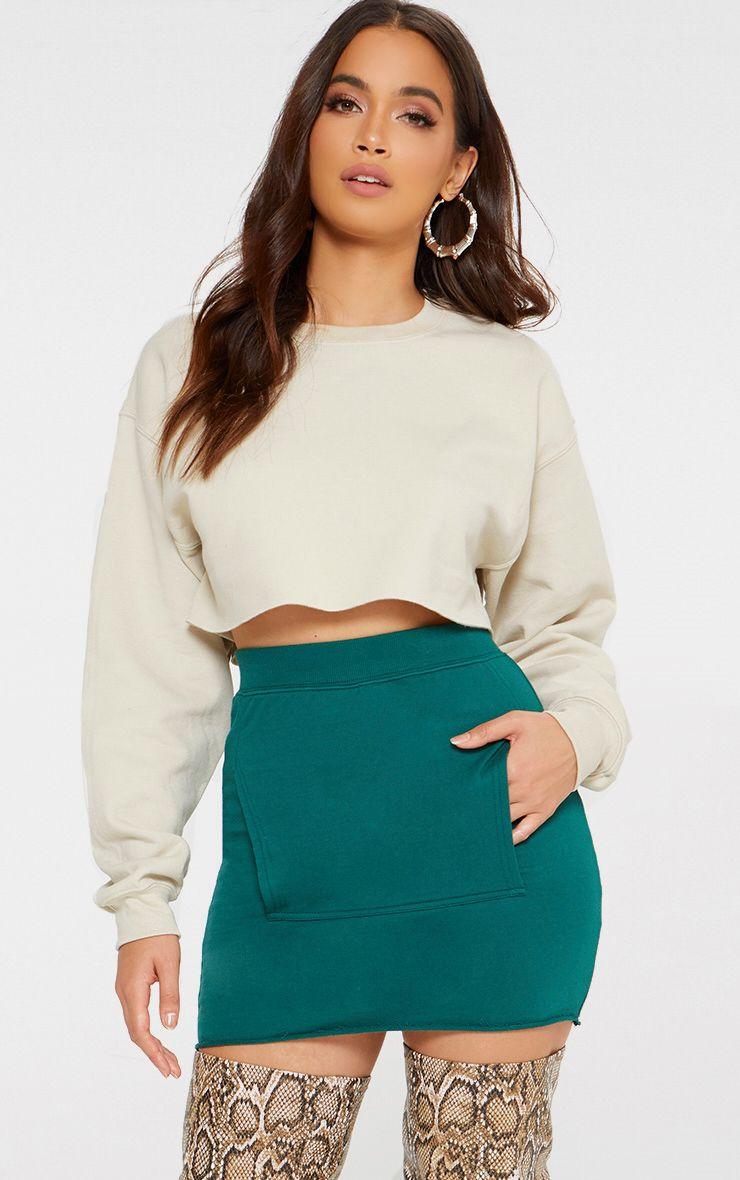 Emerald Green Sweat Pocket Mini Skirt