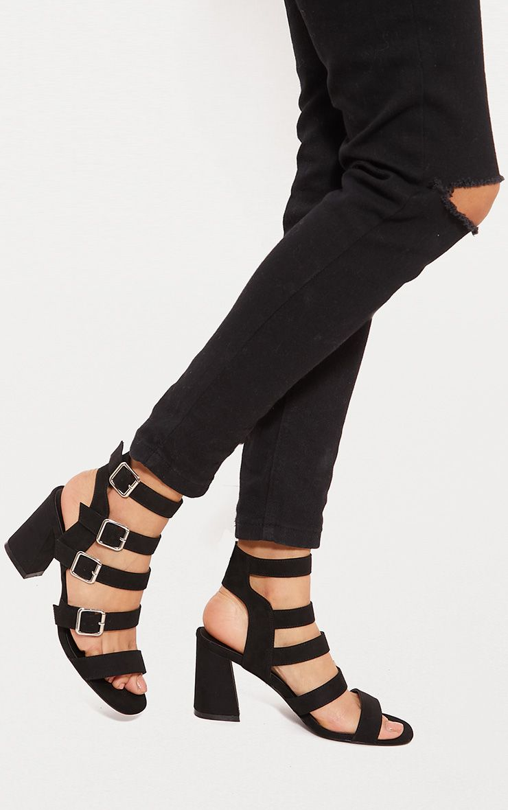 Black Strappy Buckle Block Heel Sandal