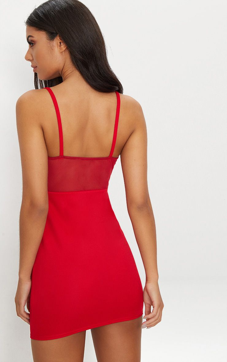Red Mesh Top Binding Detail Strappy Bodycon Dress Pretty Little Thing Clearance Countdown Package Hot Sale Cheap Online dBn1P
