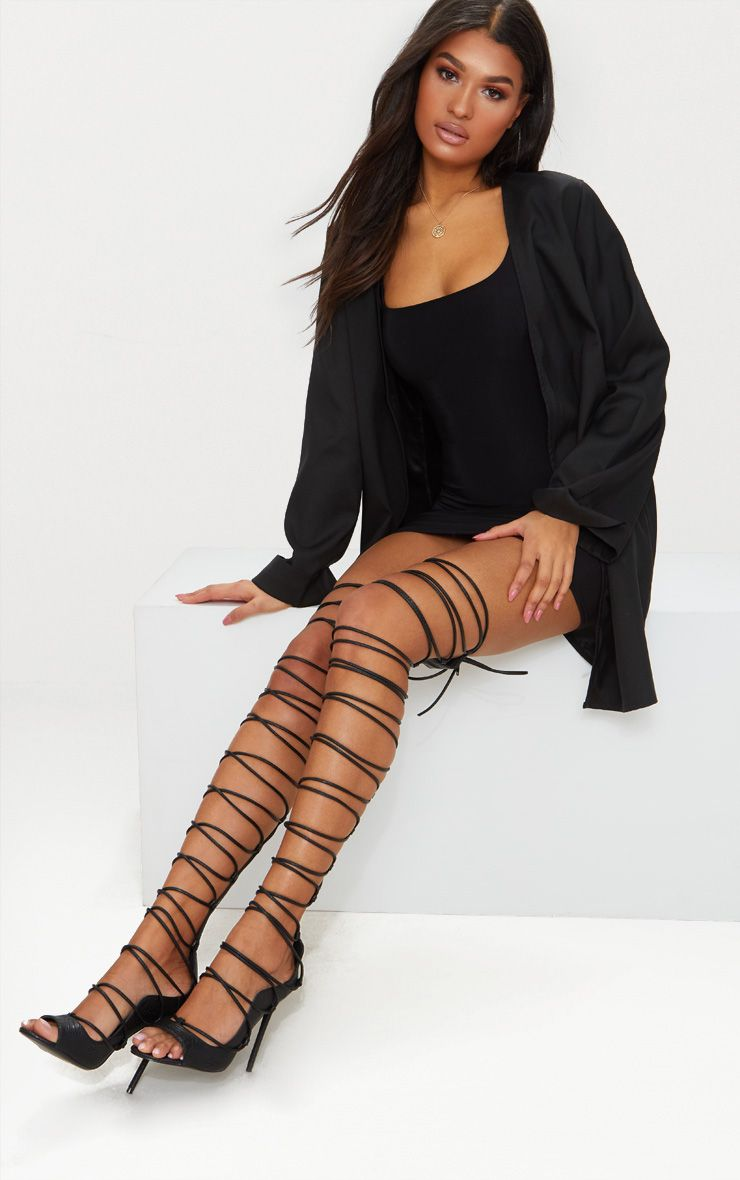 Black Thigh High Lace Up Heels
