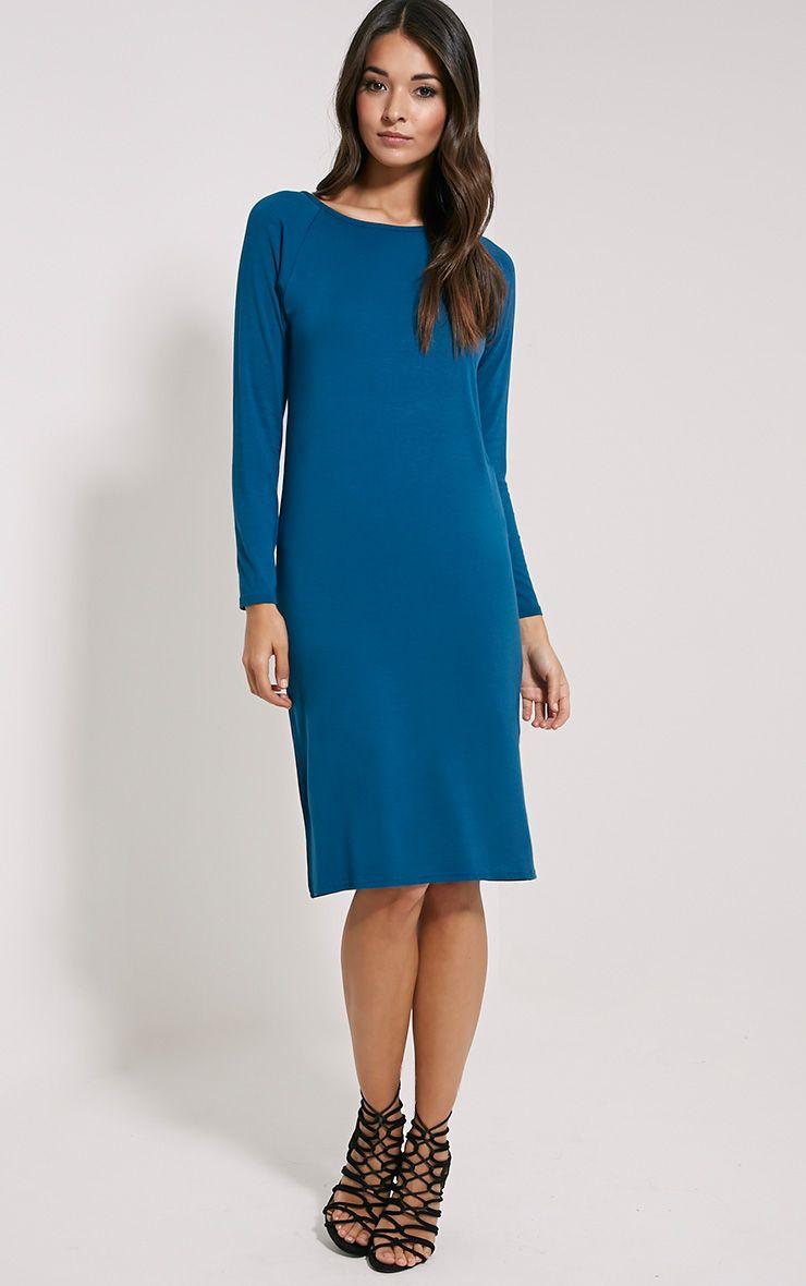 Jean Teal Long Sleeve Jersey Midi Dress 1