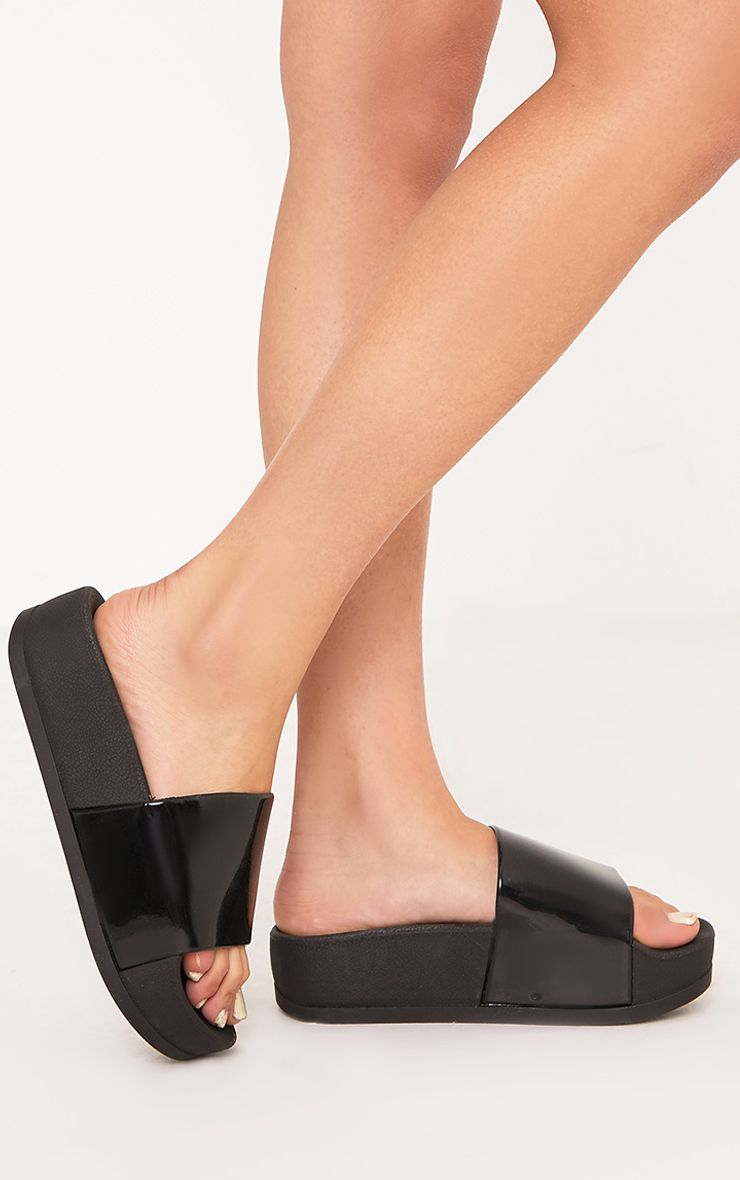 Nataylia Black Flatform Sliders