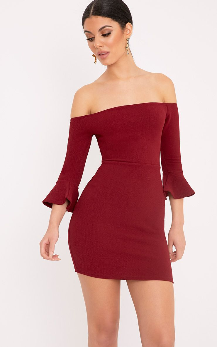 Lillianna Burgundy Bardot Frill Cuff Bodycon Dress