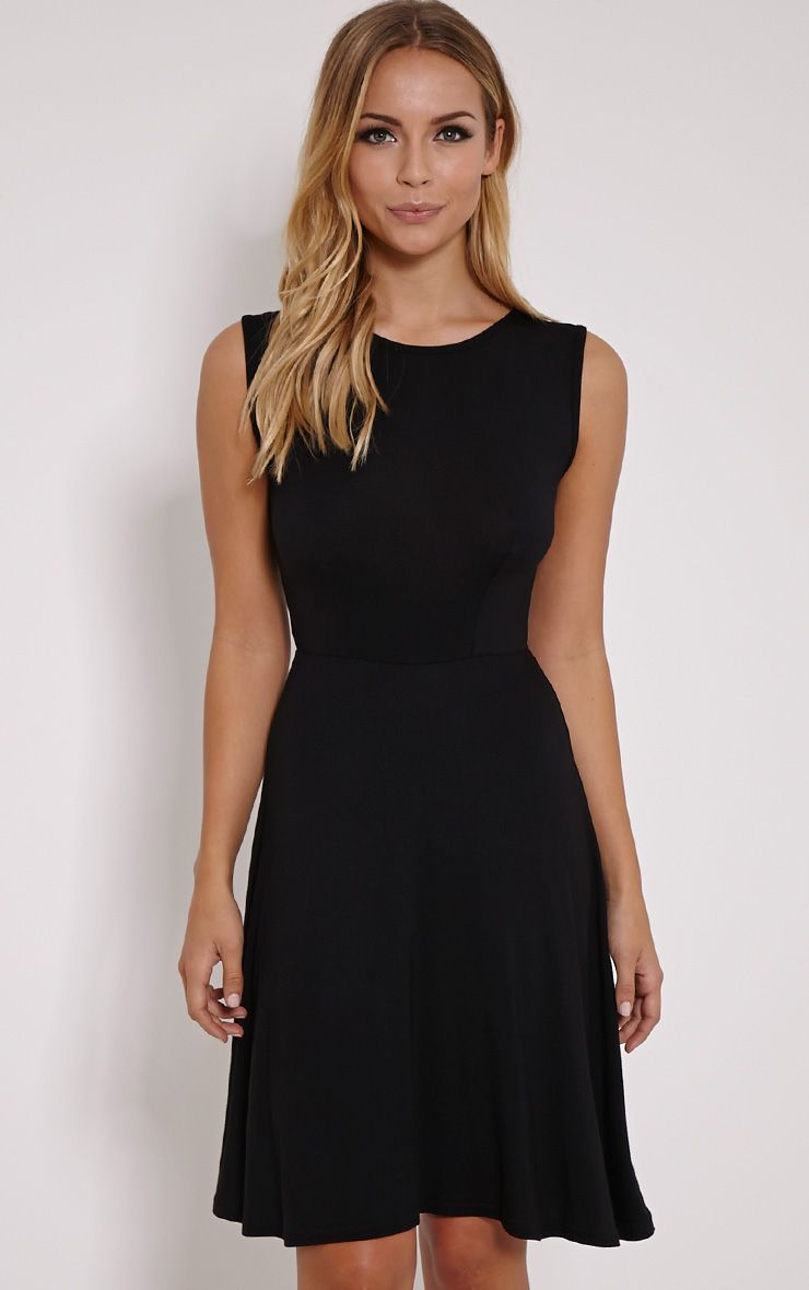 Ronni Black Basic Jersey Skater Dress 1