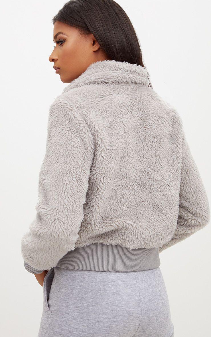 veste grise style bomber imitation peau de mouton manteaux et vestes. Black Bedroom Furniture Sets. Home Design Ideas