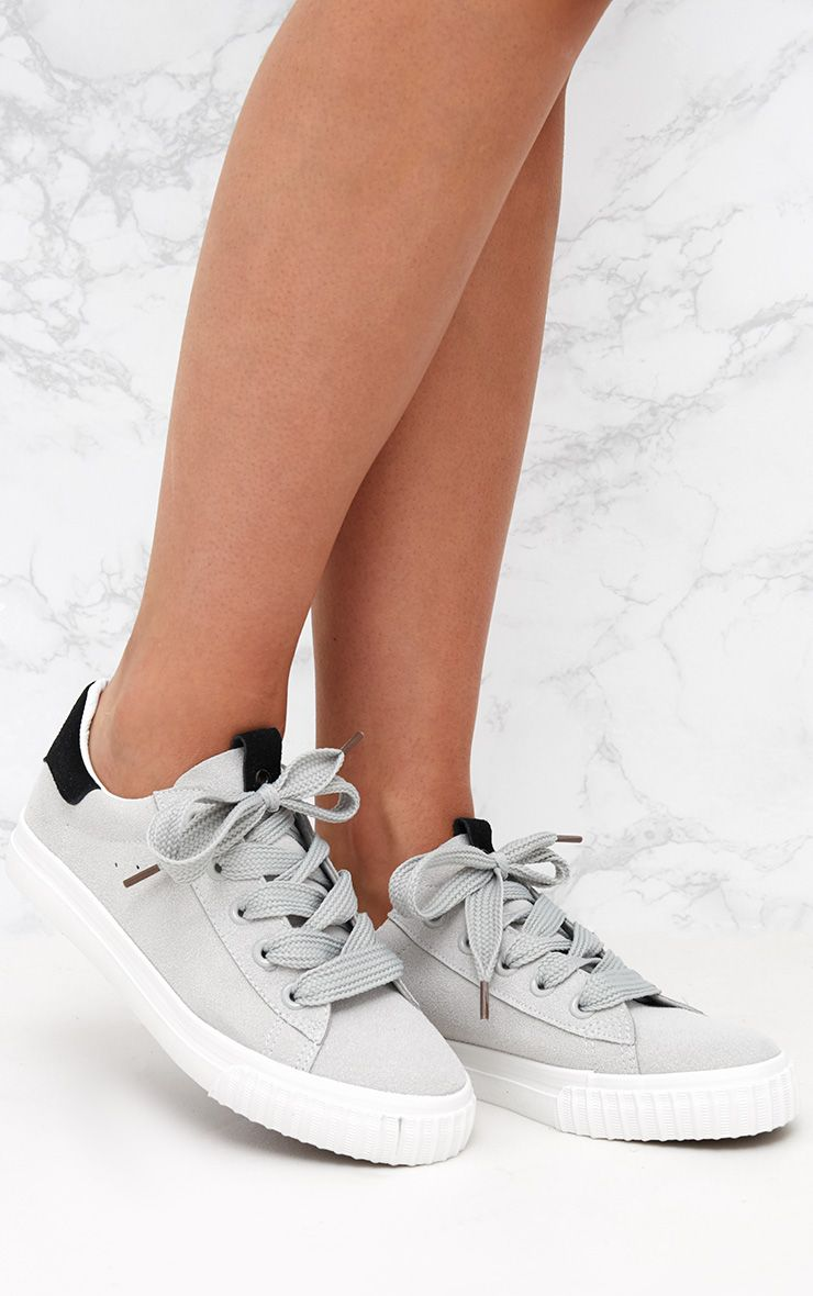 Grey Suedette Lace Up Trainer